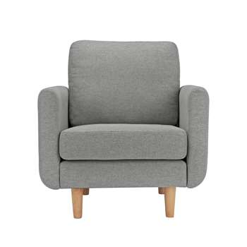 Habitat Remi Fabric Armchair in a Box - Light Grey (H82 x W80 x D83cm)