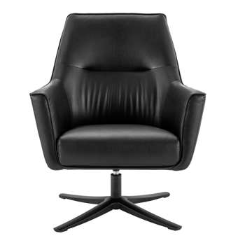 Habitat Rhett Faux Leather Swivel Chair - Black (H90 x W77 x D74cm)