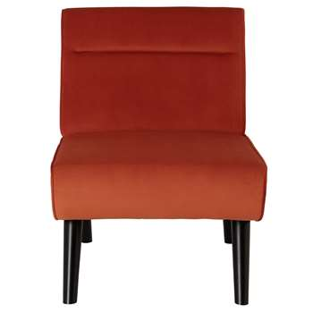 Habitat Rufus Velvet Accent Chair - Orange (H79 x W80 x D61cm)