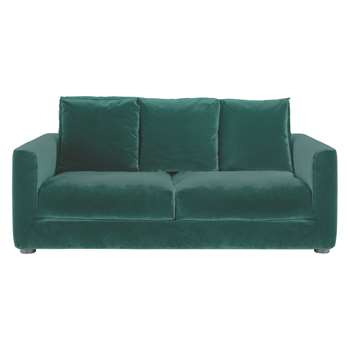 Habitat Rupert Emerald Green Velvet 2 Seater Sofa Bed (86 x 180cm)
