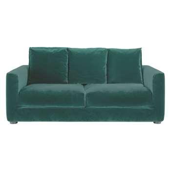 Habitat Rupert Emerald Green Velvet 2 Seater Sofa Bed (86 x 180cm)