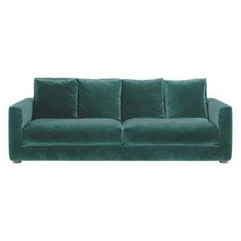 Habitat Rupert Emerald Green Velvet 3 Seater Sofa (86 x 230cm)