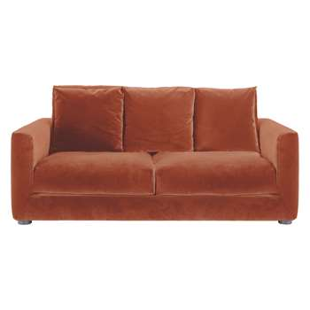 Habitat Rupert Orange Velvet 2 Seater Sofa Bed (86 x 180cm)