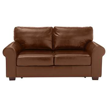 Habitat Salisbury 2 Seater Leather Sofa Bed - Tan (H90 x W180 x D94cm)