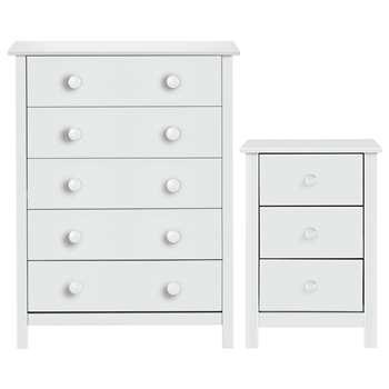 Habitat Scandinavia Bedside & 5 Drawer Chest Set - White