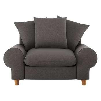 Habitat Scone Charcoal Herringbone Wool Mix Compact Sofa (86 x 136cm)