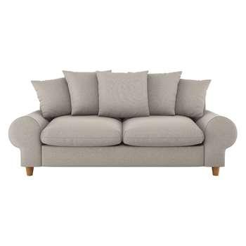 Habitat Scone Natural Textured Fabric 3 Seater Sofa (86 x 206cm)