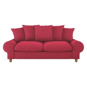 Habitat Scone Red Textured Fabric 3 Seater Sofa (86 x 206cm)