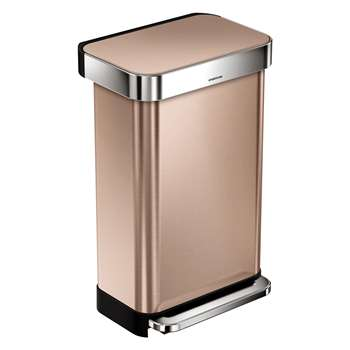 Habitat Simplehuman Rose Gold Rectangular Pedal Kitchen Bin With Liner Pocket 45L (40 x 65.5cm)