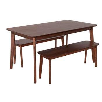 Habitat Skandi Walnut Veneer Dining Table & 2 Benches (H75 x W150 x D85cm)