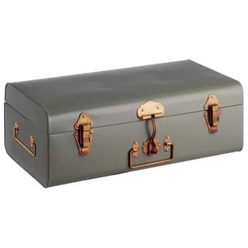 Habitat Small Storage Trunk Copper Clasps - Grey (H18 x W49 x D27cm)