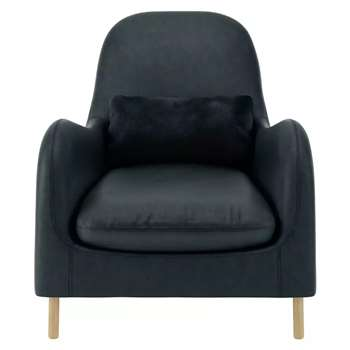 Habitat Smithfield Dark Grey Luxury Leather Armchair (85 x 80cm)
