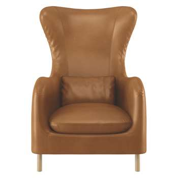Habitat Smithfield Mid Tan Leather Wingback Armchair (106 x 76cm)