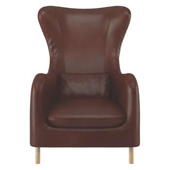 Habitat Smithfield Tan Leather Wingback Armchair (106 x 76cm)