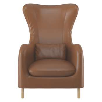 Habitat Smithfield Whiskey Leather Wingback Armchair (106 x 76cm)