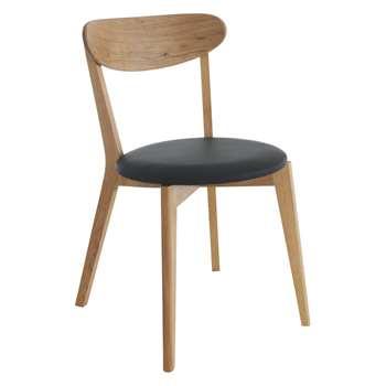 Habitat Sophie Oak Dining Chair With Black Seat Pad (H79 x W44 x D53cm)