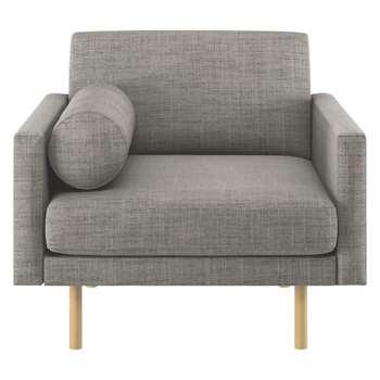 Habitat Spencer Black And White Italian Woven Fabric Armchair, Oak Legs (81 x 94cm)