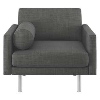 Habitat Spencer Charcoal Italian Woven Fabric Armchair, Metal Legs (81 x 94cm)