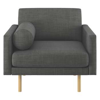 Habitat Spencer Charcoal Italian Woven Fabric Armchair, Oak Legs (81 x 94cm)