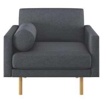 Habitat Spencer Charcoal Wool Armchair, Oak Legs (81 x 94cm)