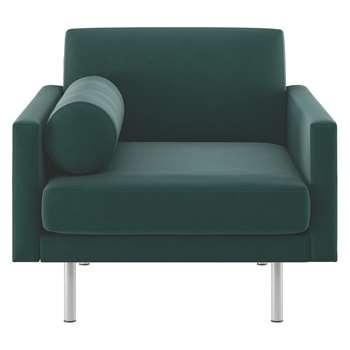 Habitat Spencer Emerald Green Velvet Armchair, Metal Legs (81 x 94cm)