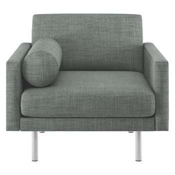 Habitat Spencer Grey Italian Woven Fabric Armchair, Metal Legs (81 x 94cm)