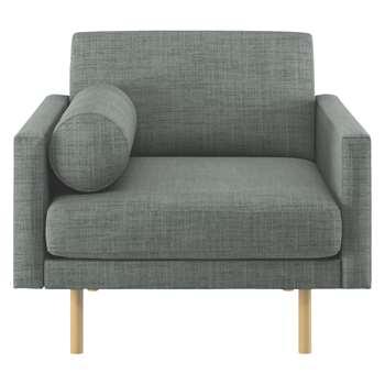Habitat Spencer Grey Italian Woven Fabric Armchair, Oak Legs (81 x 94cm)