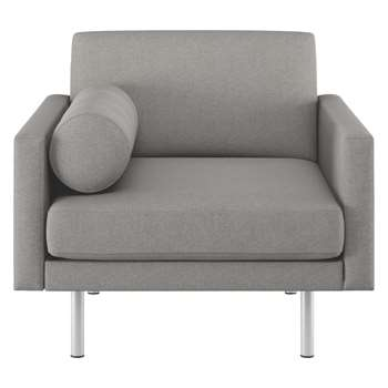 Habitat Spencer Grey Wool Armchair, Metal Legs (81 x 94cm)