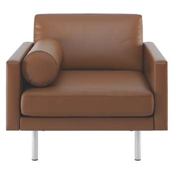 Habitat Spencer Light Brown Leather Armchair, Metal Legs (81 x 94cm)