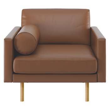 Habitat Spencer Light Brown Leather Armchair, Oak Legs (81 x 94cm)