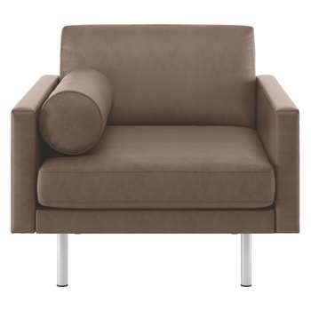 Habitat Spencer Light Brown Luxury Leather Armchair, Metal Legs (81 x 94cm)