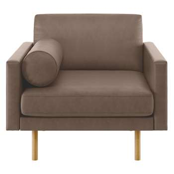 Habitat Spencer Light Brown Luxury Leather Armchair, Oak Legs (81 x 94cm)