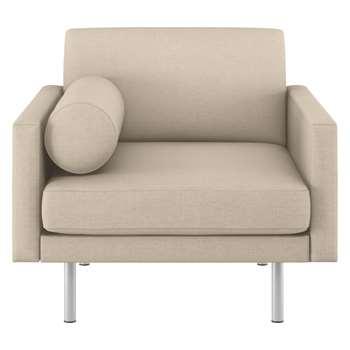 Habitat Spencer Natural Italian Woven Fabric Armchair, Metal Legs (81 x 94cm)