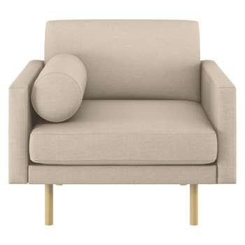Habitat Spencer Natural Italian Woven Fabric Armchair, Oak Legs (81 x 94cm)