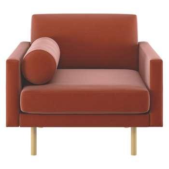 Habitat Spencer Orange Velvet Armchair, Oak Legs (81 x 94cm)