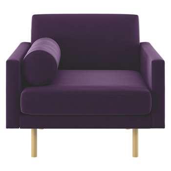 Habitat Spencer Purple Velvet Armchair, Oak Legs (81 x 94cm)