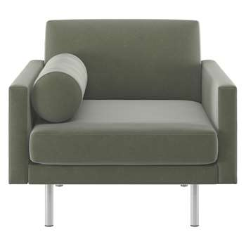 Habitat Spencer Sage Green Velvet Armchair, Metal Legs (81 x 94cm)