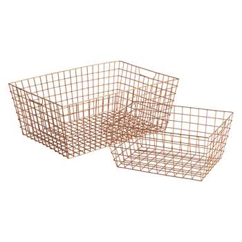 Habitat Stanford Set Of 2 Copper Wire Storage Baskets (H20 x W50 x D35cm)