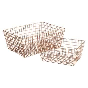 Habitat Stanford Set Of 2 Copper Wire Baskets (19.5 x 35cm)