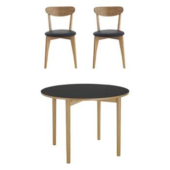 Habitat Suki 2 Seater Dining Set With Suki Black Table And 2 Sophie Oak And Black Chairs