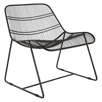 Habitat Tabitha Black Metal Wire Lounge Chair (H69 x W62 x D69cm)