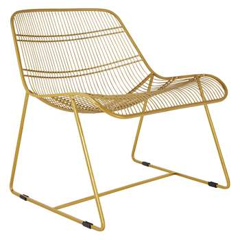 Habitat Tabitha Gold Metal Wire Lounge Chair (H69 x W62 x D69cm)