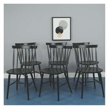 Habitat Talia Set Of 6 Black Dining Chairs (83.5 x 48cm)