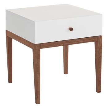 Habitat Tatsuma Walnut White 1 Drawer Bedside Table (48 x 45cm)