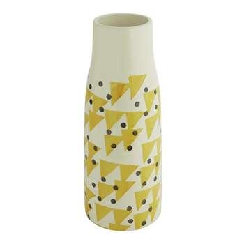 Habitat Terri Yellow And Black Pattern Earthenware Vase (H33 x W13 x D13cm)