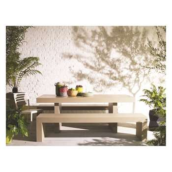 Habitat Tico 8 Seater Tico Dining Set With Ecru Table And 2 Benches (74 x 200cm)