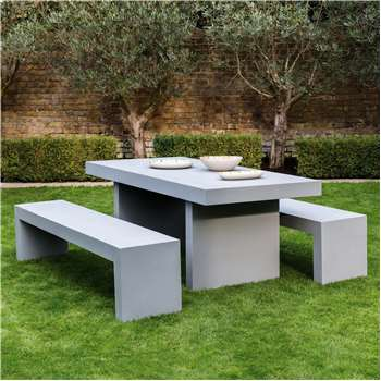 Habitat Tico 8 Seater Tico Dining Set With Grey Table And 2 Benches (74 x 200cm)