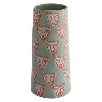 Habitat Tiger Face Green And Orange Terracotta Vase (H26 x W12 x D12cm)