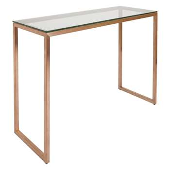 Habitat Tilda Glass Console Table With Copper Base (78.5 x 113cm)