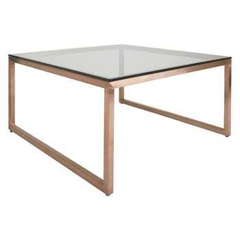 Habitat Tilda Square Glass Coffee Table With Copper Base (40 x 80cm)